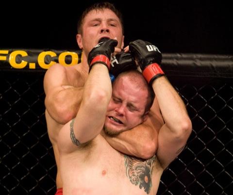 In Nebraska, Dan Miller rear-naked-chokes Rob Kimmons, in September of 2008. Photo: Josh Hedges/Zuffa.