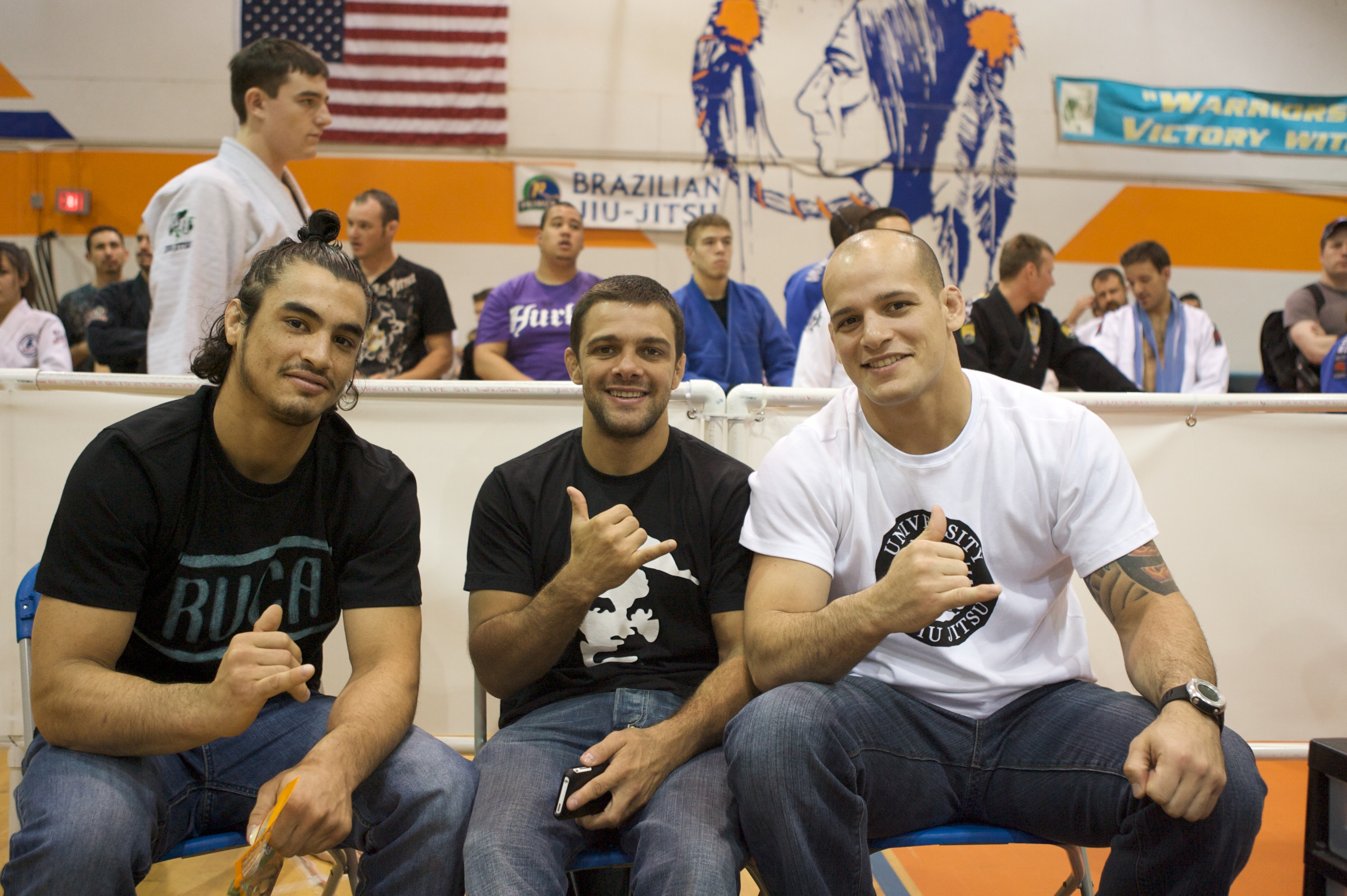 (From left) Kron, Robson and Xande. Photo: AZSBJJF
