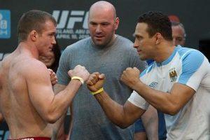 Hughes e Renzo se encaram mais uma vez, agora em duelo sem kimono. Foto: UFC