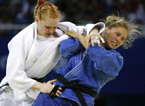 Strikeforce stunner Ronda Rousey pictured here competing in Beijing / GRACIEMAG.com archive photo