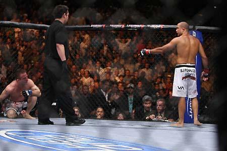 B.J. knocks out Sean Sherk, caught by Susumu Nagao