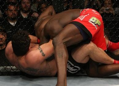 Mir finishes Kongo with this guillotine. Photo: Josh Hedges