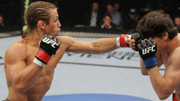Urijah Faber loses bet with Jon Jones and promptly pays