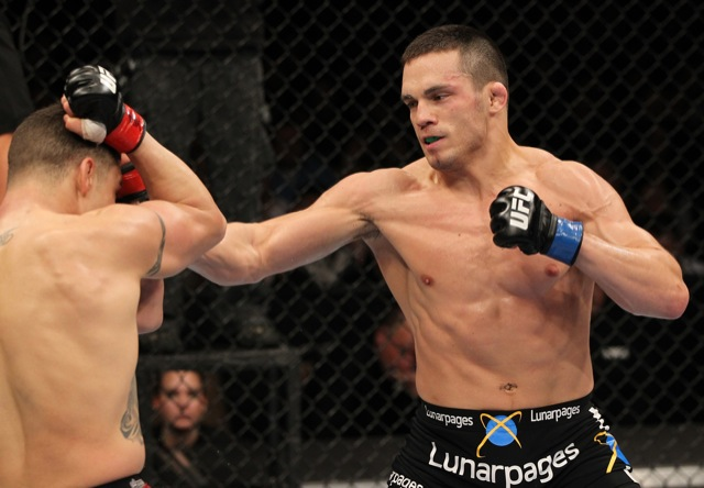 O faixa-roxa Ellenberger conseguiu vencer bem o faixa-preta Diego Sanchez no UFC. Foto: Josh Hedges/Zuffa LLC/Zuffa LLC via Getty Images