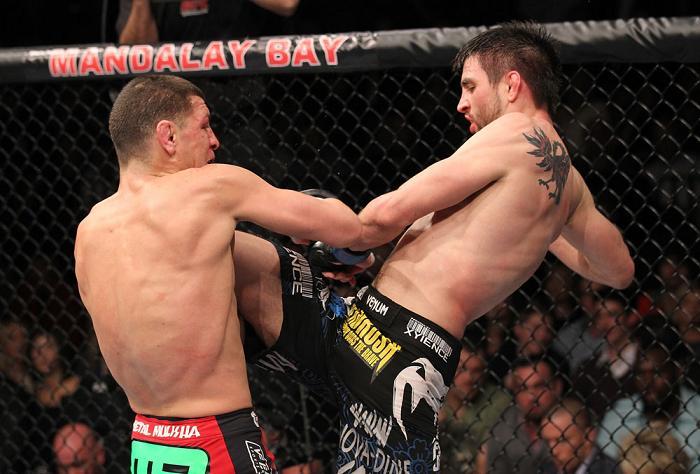 Condit na luta contra Diaz. Foto: Nick Laham, UFC
