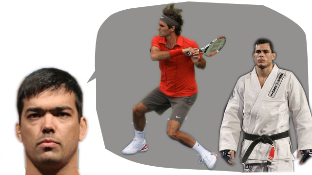 Lyoto teaches Gracie to act like the like-named Roger Federer, tennis ace