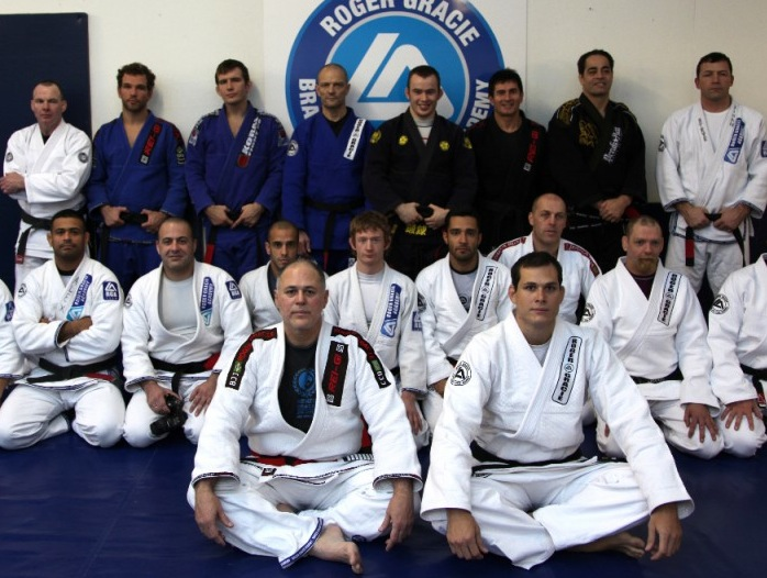 Maurição Gomes with Roger-Gracie at their Jiu-Jitsu school.