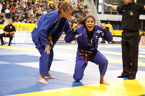 Hannette celebrates the 2011 Worlds gold winning flying armbar