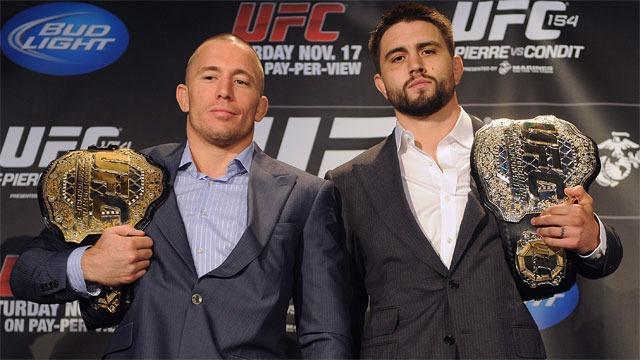 GSP com Carlos Condit em coletiva do UFC Divulgacao