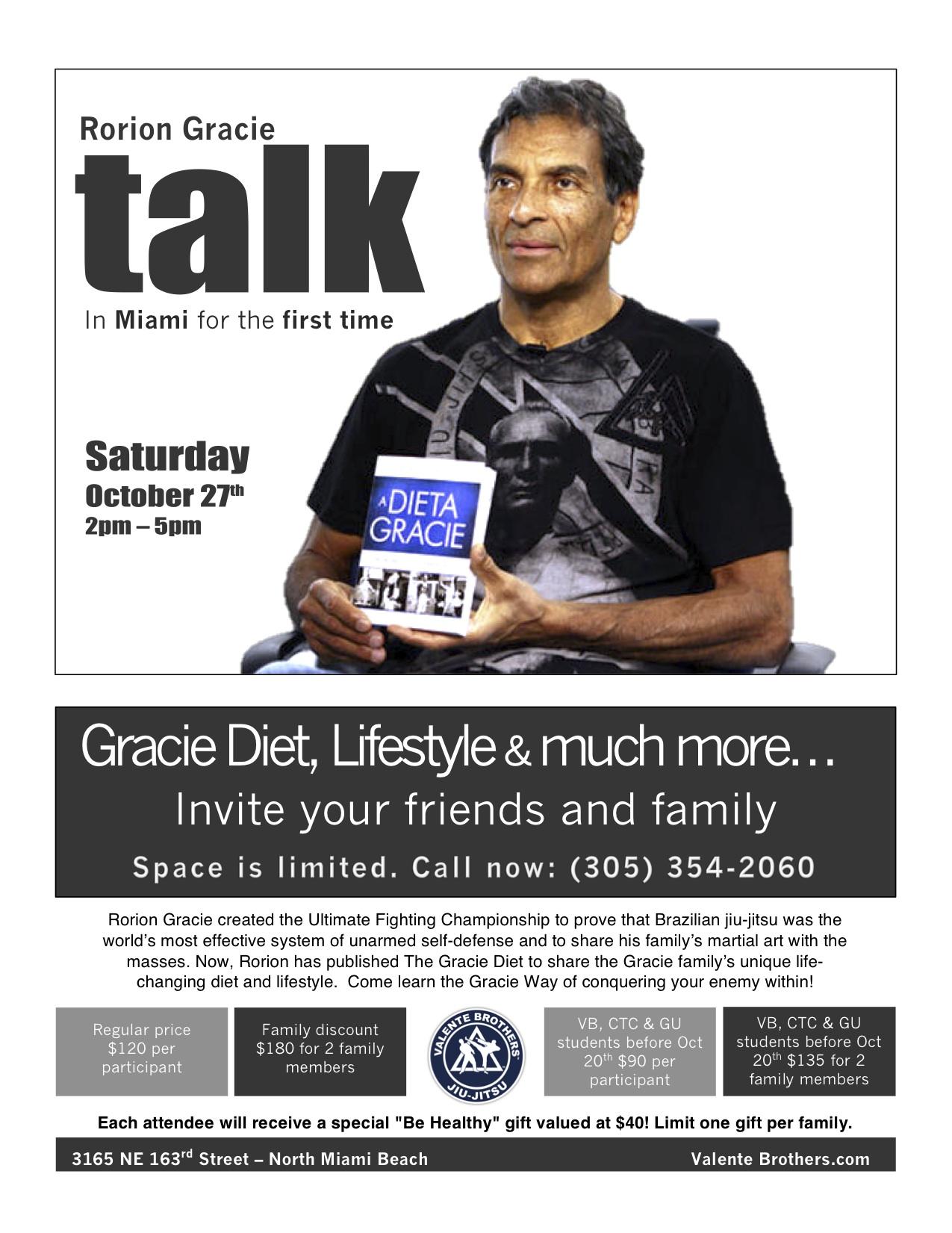 Rorion Gracie talks the Gracie Diet in miami