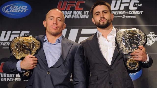 Condit (right) and his arsenal to conquer the welterweight belt