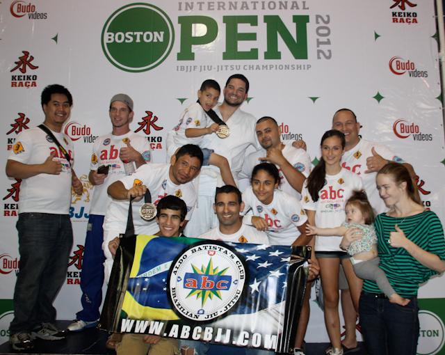 Aldo Batista's team at the top of the Boston Open podium