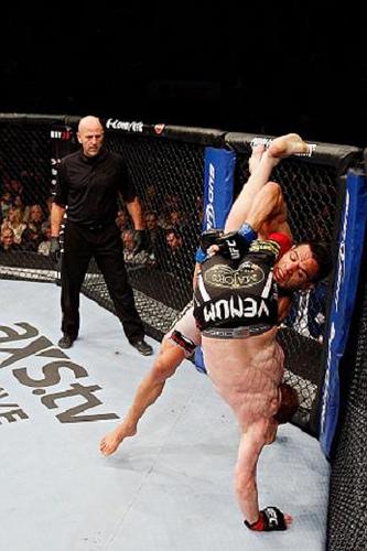 Rafel do Anjos coloca o ruivo Mark Bocek para baixo, no UFC 154. Foto: Josh Hedges/UFC