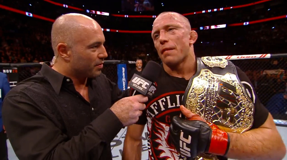 GSP is interviewed by Joe Rogan after arguably his toughest fight ever.