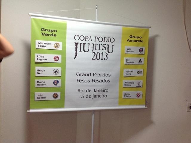 Grupos verde e amarelo apos sorteio do GP dos Pesados da Copa Pódio de Jiu-Jitsu