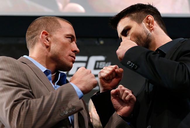 GSP e Condt na tradicional encarada após a coletiva. Foto: UFC