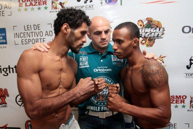 Bruno Emilia encara Marcos Cabecinha na pesagem. Foto: Fernando Azevedo