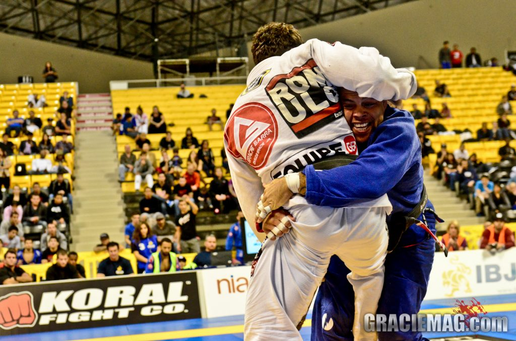 Andre Galvao attempts the takedown on Romulo Barral at IBJJ Pro League final / Photo by Erin Herle