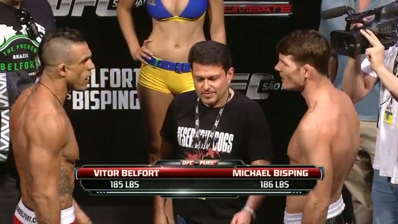 """Belfort e Bisping trocam """"elogios"""" durante a encarada. Foto: Reprodução/Youtube"""