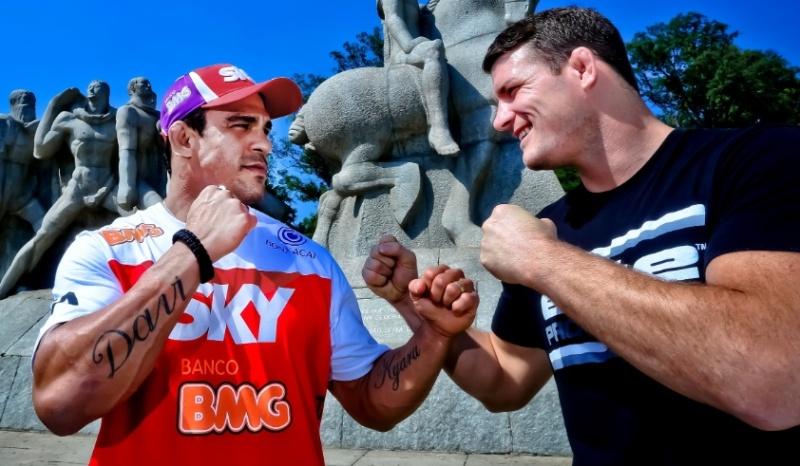 Atletas se enfrentam com palavras antes do UFC SP. Foto: Wander Roberto/Divulgação UFC