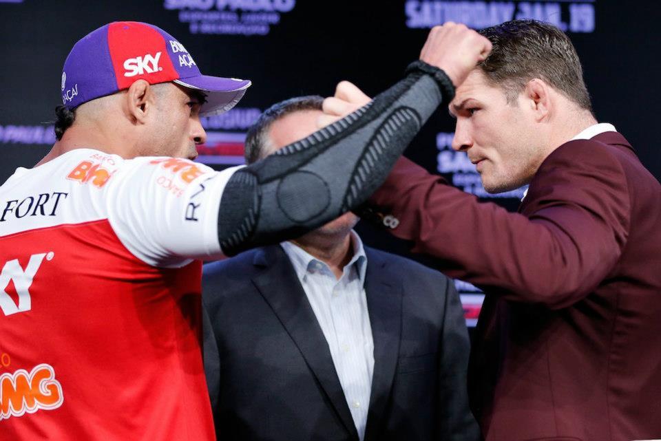Belfort se desentende com Bisping na hora da encarada. Foto: UFC/Divulgação
