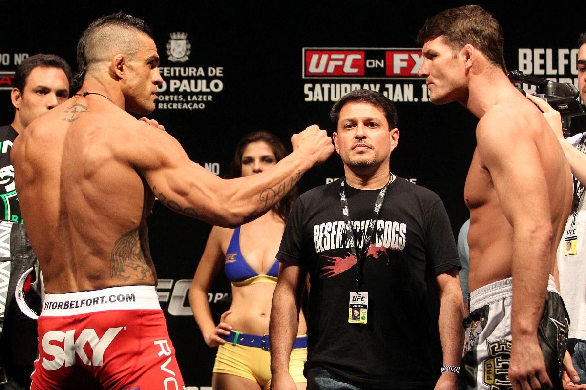 Belfort nocauteou Bisping no chute alto. Foto: UFC/Gaspar Nóbrega