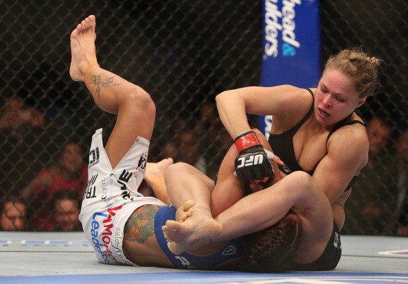 Ronda Rousey fights Liz Carmouche during their UFC Bantamweight Title bout at Honda Center on February 23, 2013 in Anaheim, California.  (Photo by Jeff Gross/Getty Images)