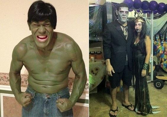 Pezão Fantasiado de Hulk e de Frankeinstein. Foto: Reprodução/Twitter