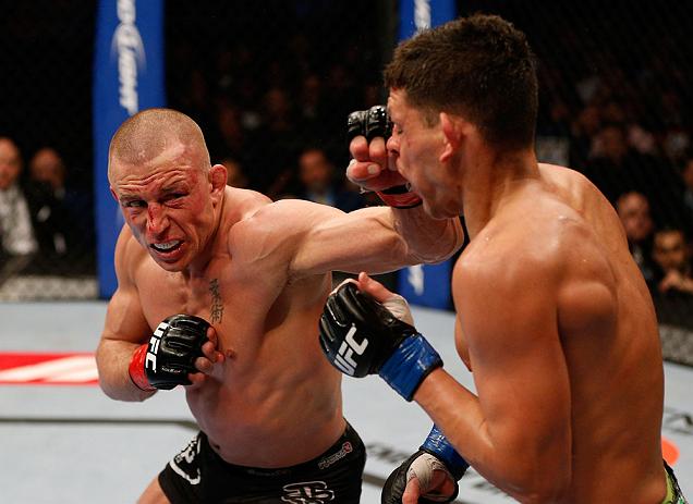 St-Pierre foi eficiente na defesa de seu cinturão contra Nick Diaz. Foto: Josh Hedges/Zuffa LCC via Getty Images