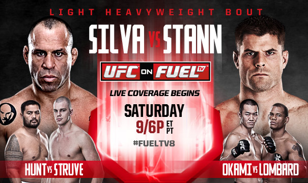 Pôster oficial do evento UFC on Fuel 8: Silva vs Stann. Foto: UFC