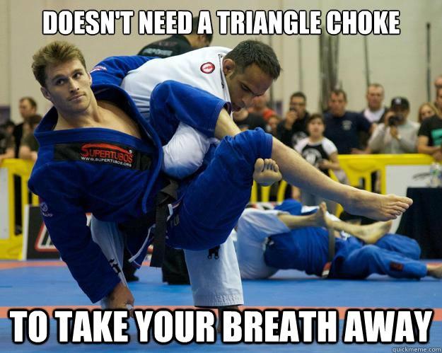 """""""Não precisa de um triângulo para te deixar sem ar"""", diz a foto do fotogênico Gracie. Foto: Reedit.com"""