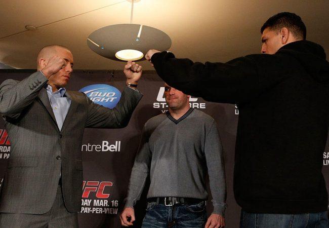 Bate-boca e encarada amena entre GSP e Nick Diaz marcam coletiva do UFC 158