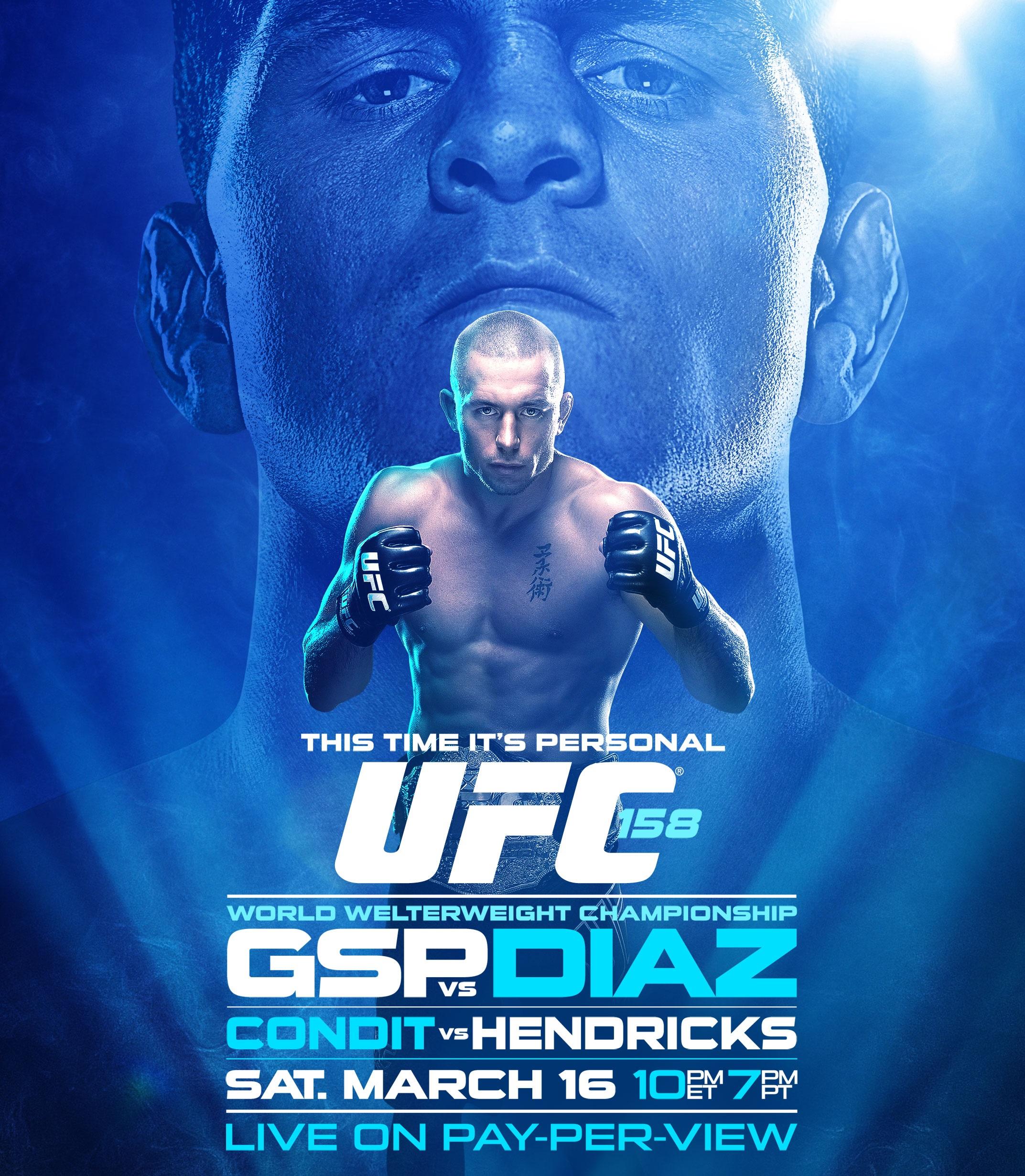 Pôster oficial do UFC 158: GSP vs Diaz. Foto: UFC/Divulgação