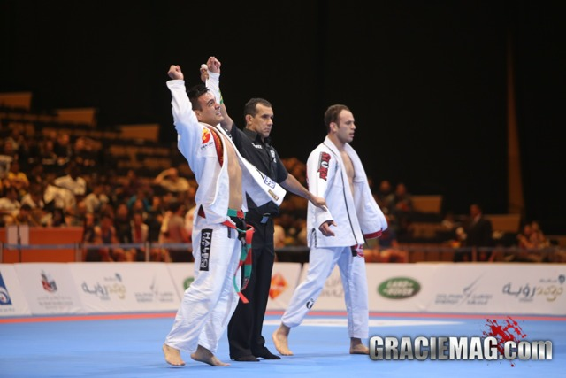 Marcos Souza celebrates the title at the 2013 WPJJC, in Abu Dhabi