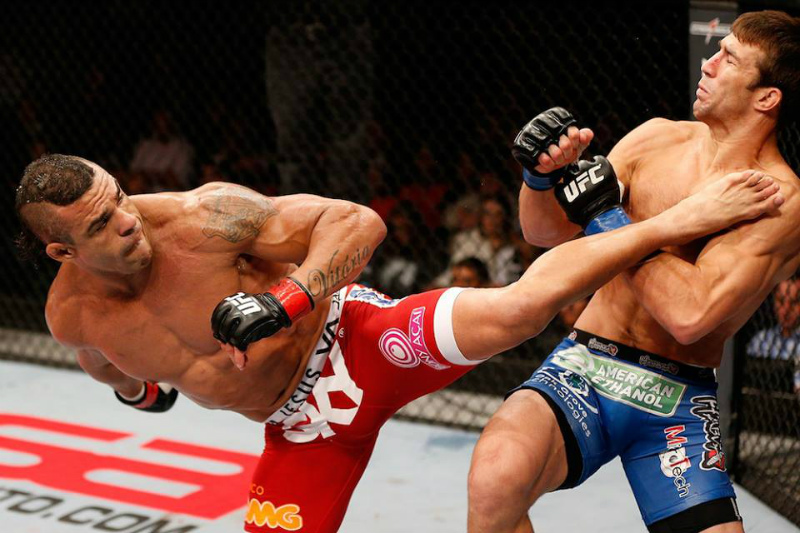 Vitor Belfort, shown here knocking out Luke Rockhold in the main event of UFC on FX 8 in Brazil, doesn't feel Gegard Mousasi deserves a fight with him. Photo via UFC Facebook.