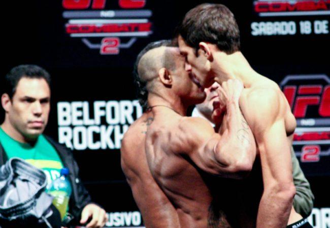 Vitor Belfort perde paciência e empurra Luke Rockhold na pesagem