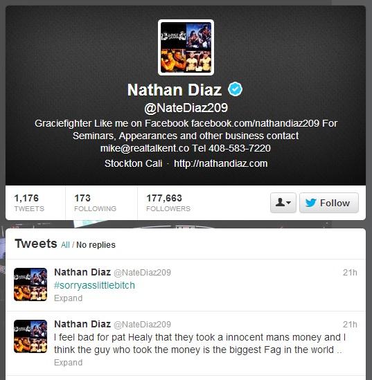 Declarações de Nate no Twitter. Foto: Reprodução