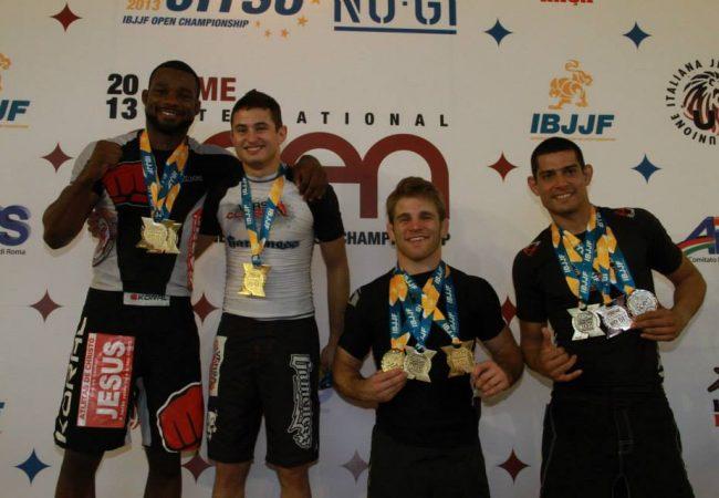 The black belt open class podium