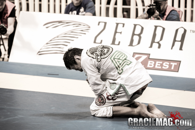 Paulo Miyao can't hold in his emotion after defeating Keenan