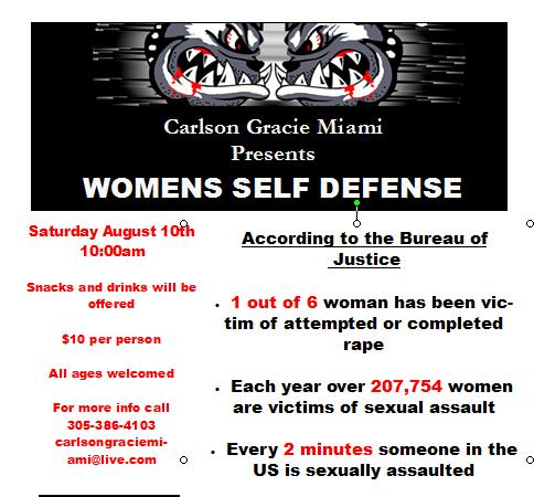 Women's self-defense seminar in Miami on Saturday, August 10