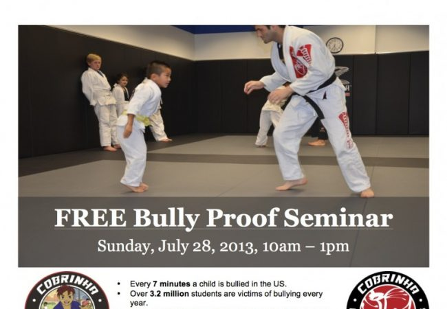 Bullyproof your kids for free at Cobrinha BJJ in Los Angeles on July 28