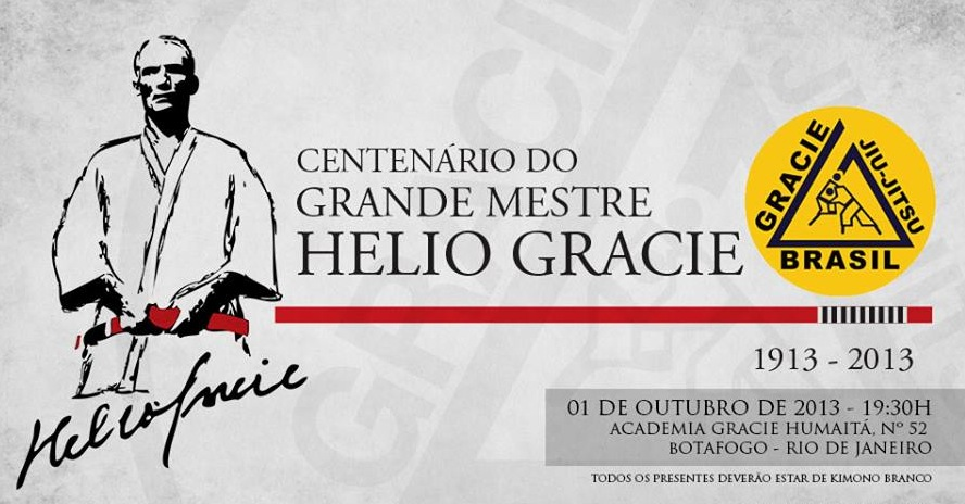 Convite para a festa de cem anos de Helio Gracie, na escola Gracie Humaitá no Rio. Foto: Divulgação