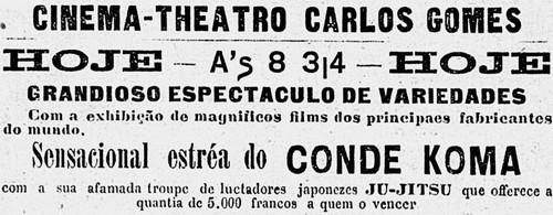 Estreia de Conde Koma no Rio no teatro Carlos Gomes