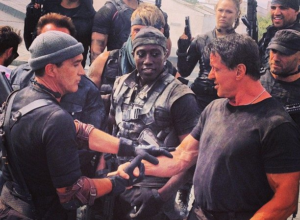 "Just a picture of Ronda Rousey with Sylvester Stallone, Wesley Snipes & others on the set of ""Expendables 3"""