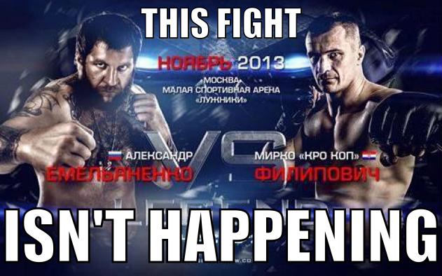 "Mirko ""Cro Cop"" vs. Aleksander Emelianenko rematch scratched due to Russian's legal problems"