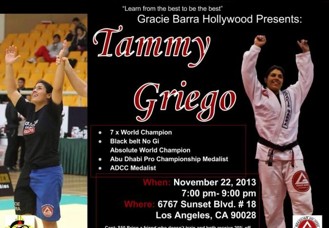 ADCC medalist Tammy Griego seminar in Hollywood, CA on Friday, Nov. 22