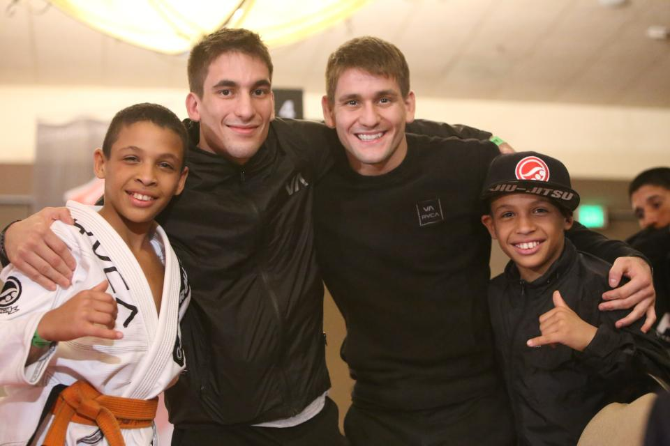 The Ruotolo twins with their professors Rafa and Gui Mendes. Photo: Erin Herle