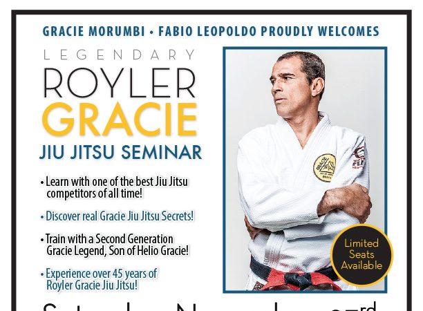 Legendary Royler Gracie seminar at Gracie Morumbi Ventura on Saturday, Nov. 23!