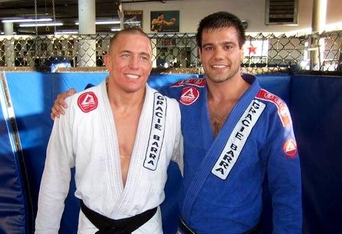 Georges St-Pierre e Bruno Fernandes depois do treino de Jiu-Jitsu. Foto: Divulgação