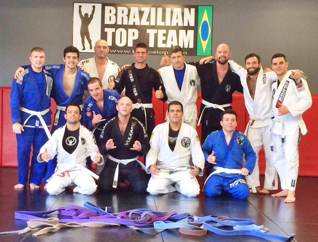 The students of Brazilian Top Team Boston toss their colored belts aside for a bit. Photo: Bruno Amaral